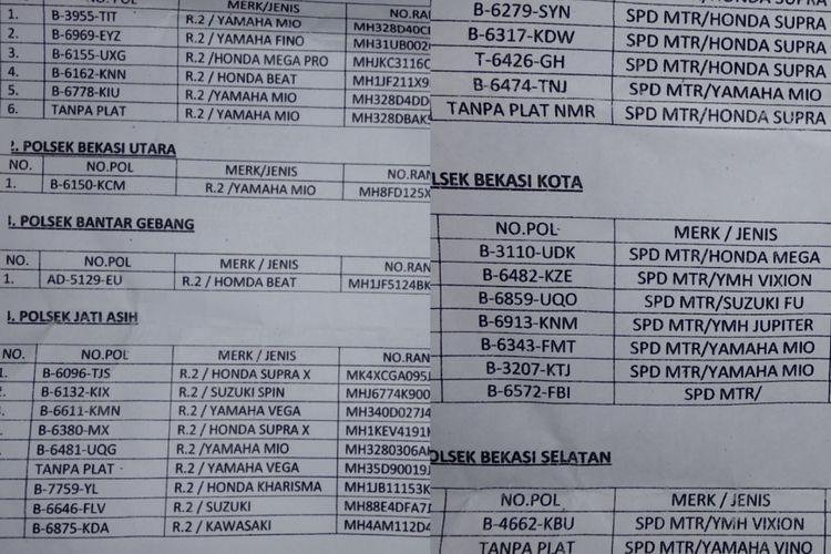 Daftar motor hasil operasi cipta kondisi di Polres Metro Bekasi Kota