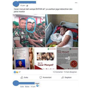 Kabar hoaks cacar monyet atau monkeypox yang beredar luas di Facebook.