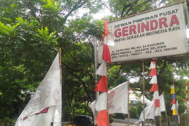Kantor Dewan Pengurus Pusat (DPP) Partai Gerindra di Jalan RM Harsono, Pasar Minggu, Jakarta Selatan, Selasa (23/4/2019).