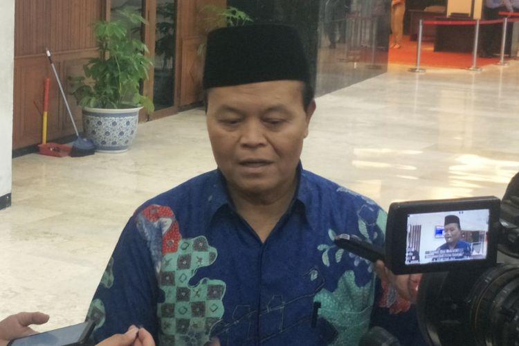 Wakil Ketua Dewan Penasihat Badan Pemenangan Nasional (BPN) Hidayat Nur Wahid saat ditemui di Kompleks Parlemen, Senayan, Jakarta, Senin (25/3/2019).