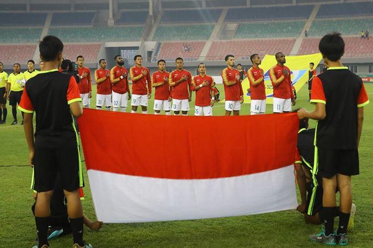 Timnas Indonesia beruji coba melawan Myanmar di Stadion Mandala Thiri, Mandalay, Myanmar, Senin (25/3/2019).