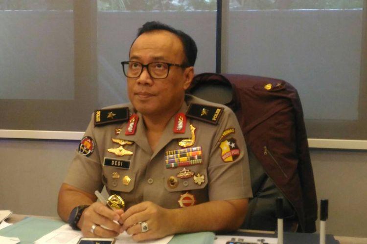 Kepala Biro Penerangan Masyarakat Humas Brigjen (pol) Dedi Prasetyo di Gedung Humas Mabes Polri, Jakarta, Kamis (4/4/2019).