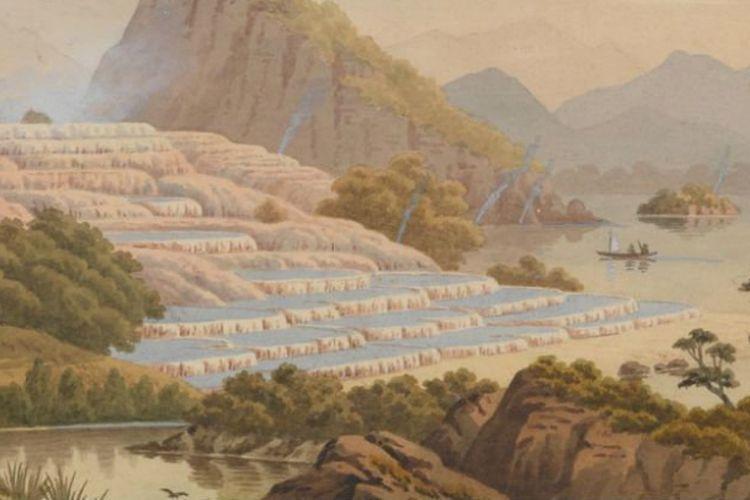 Lukisan Teras Merah Muda dan Teras Putih di New Zealand