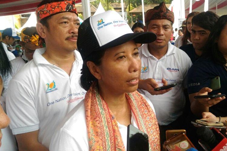 Menteri BUMN Rini Soemarno, saat menghadiri HUT ke-20 Kementerian BUMN di Taman Budaya Sentul, Bogor, Sabtu (14/4/2018).