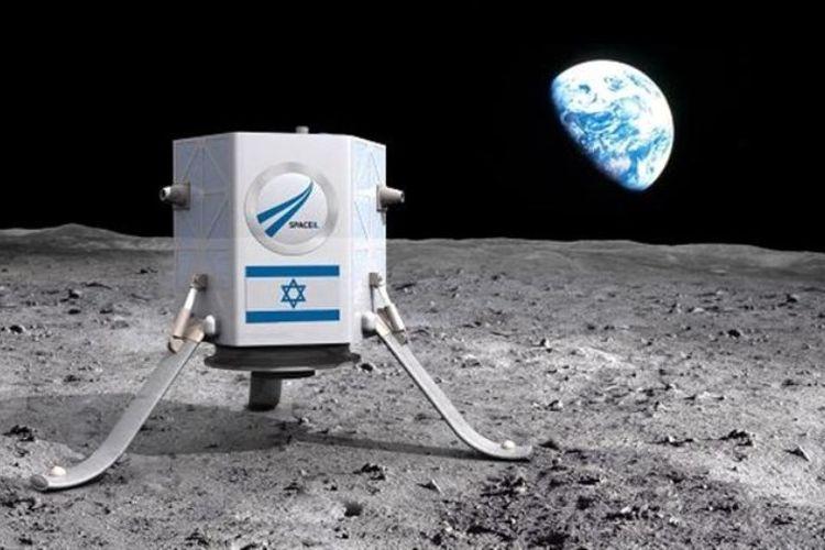 Ilustrasi pendaratan pesawat luar angkasa tak berawak di bulan.