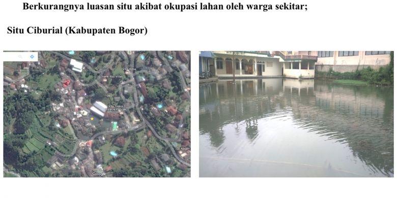 Kondisi situ rusak akibat okupansi lahan oleh warga sekitar.