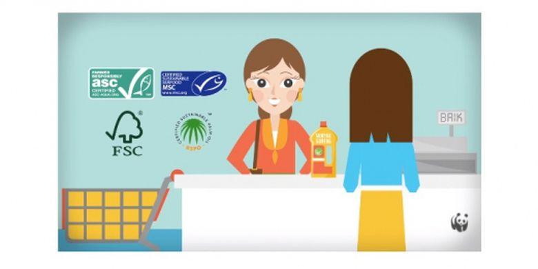Cuplikan video ilustrasi imbauan pada konsumen untuk membeli produk yang baik dan ramah pada lingkungan.