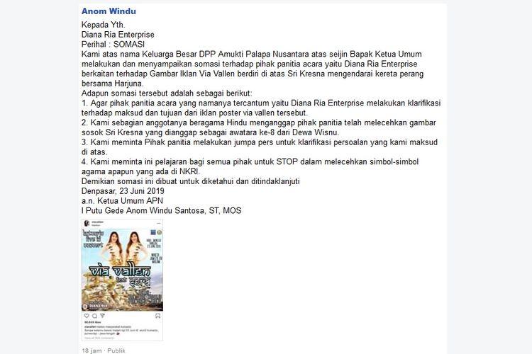 Somasi daring yang dilayangkan Ketua DPP APN, Anom Windu, kepada pihak penyelenggara konser Via Vallen di Kutoarjo, Jawa Tengah.