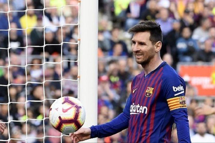 Lionel Messi mencetak rekor personal pada laga Barcelona vs Espanyol dalam lanjutan La Liga Spanyol di Stadion Camp Nou, 30 Maret 2019.