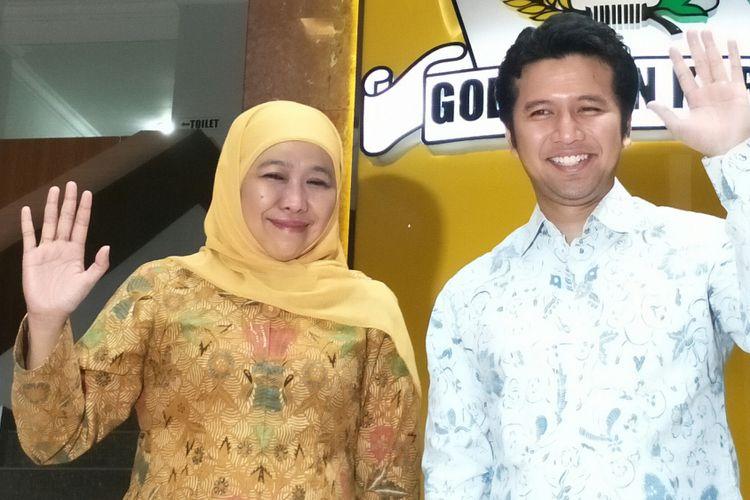 Bakal pasangan calon gubernur dan wakil gubernur Jawa Timur, Khofifah Indar Parawansa (kiri) dan Emil Dardak (kanan). Keduanya memastikan diri akan ikut pada pemilihan gubernur Jatim 2018. Jakarta, Rabu (22/11/2017).
