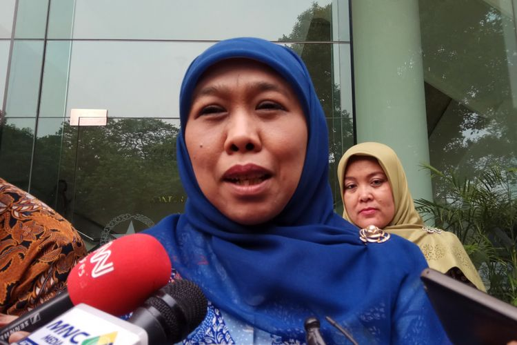 Menteri Sosial RI Khofifah Indar Parawansa Ketika Ditemui di Kantor Wakil Presiden RI, Jakarta, Rabu (9/8/2017).