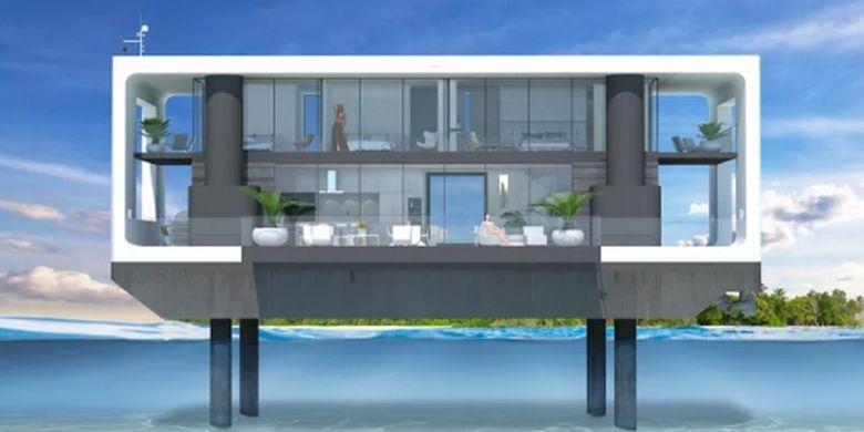 Desain rumah apung rancangan Arkup