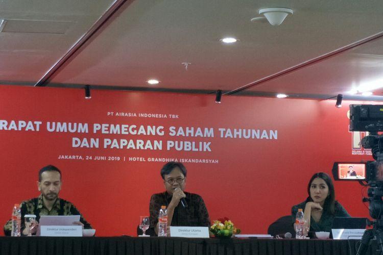 Direktur Utama AirAsia Indonesia Dendy Kurniawan pasca Rapat Umum Pemegang Saham (RUPS).di Jakarta, Senin (25/6/2019)
