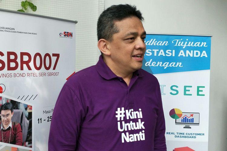 Dirjen Pengelolaan Pembiayaan dan Risiko Kemenkeu, Lucky Alfirman di Jakarta. Kamis (11/7/2019)