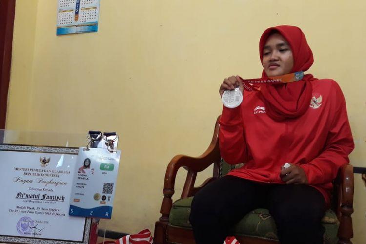 Nimatul Fauziah (20) atlet disabilitas asal Temanggung, Jawa Tengah, peraih medali perak cabor lawnball di Asian Paragames 2018.