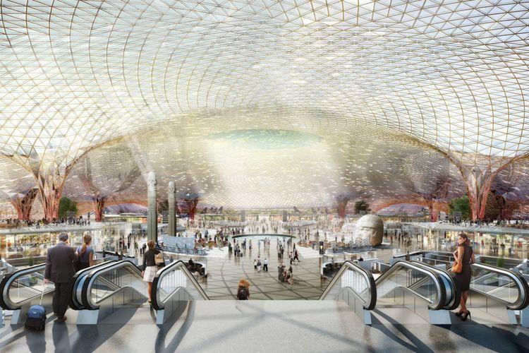 Desain bandara yang dirancang oleh firma arsitek Foster + Partners ini rencananya akan mengganti bandara Mexico City International Airport