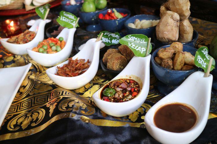 Lima dari 21 jenis sambal yang dihadirkan dalam Festival Sambal Nusantara, di Restoran Lara Djonggrang.