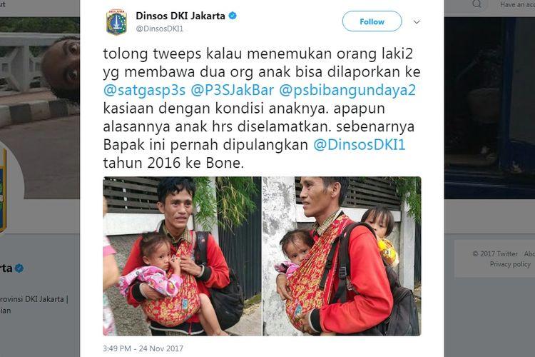 Dinas Sosial DKI Jakarta menulis di akun Twitter mengenai pria menggendong dua anak yang viral di media sosial.