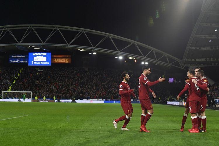 Selebrasi para pemain Liverpool saat merayakan gol yang dicetak Roberto Firmino ke gawang Huddersfield Town dalam laga Liga Inggris 2017-2018 di Stadion John Smiths pada Selasa (30/1/2018).