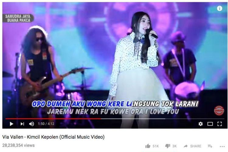 Lagu Kimcil Kepolen dari Via Vallen di Youtube ditonton lebih dari 28 juta pada Minggu (29/10/2017).