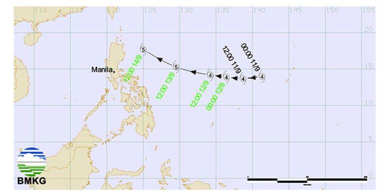 BMKG memperingatkan soal siklon tropis Mangkhut yang melanda wilayah timur Indonesia meliputi sebelah utara Sulawesi, sebelah utara Maluku, dan sebelah utara Papua Barat.