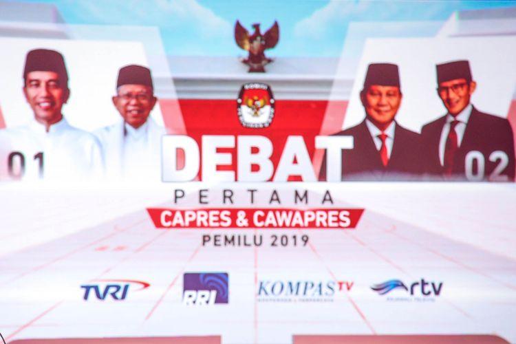 Debat pilpres pertama di Hotel Bidakara, Jakarta Selatan, Kamis (17/1/2019). Tema debat pilpres pertama yaitu mengangkat isu Hukum, HAM, Korupsi, dan Terorisme.