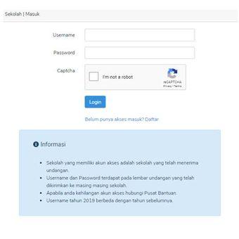 Tampilan menu login pada situs PMDK-PN