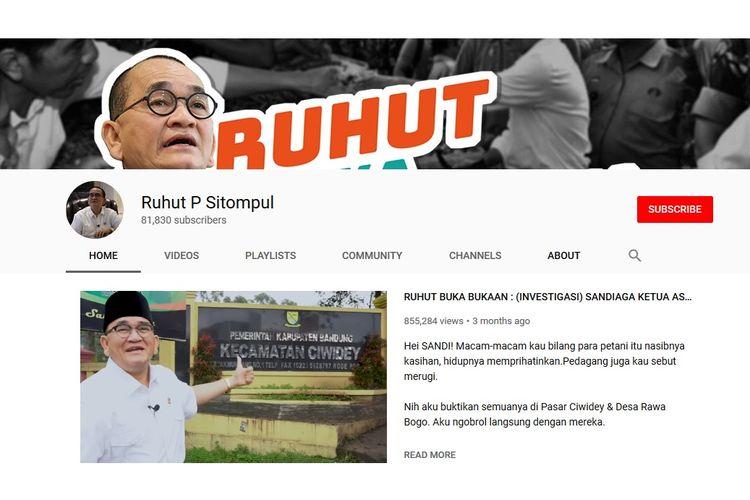 Ruhut Sitompul membuat program Ruhut Buka-Bukaan yang ditayangkan secara berkala di akun youtube Ruhut P Sitompul. Program itu mengkampanyekan pasangan Joko Widodo-Maruf Amin dalam Pilpres 2019.