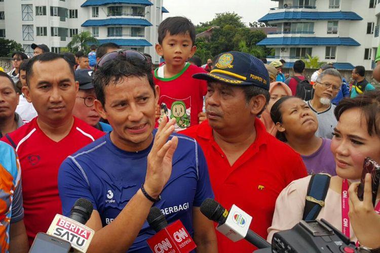 Wakil Gubernur DKI Jakarta, Sandiaga S Uno usai berlari di CFD JLNT Antasari.