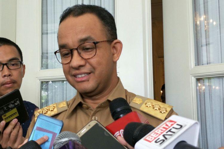 Gubernur DKI Jakarta Anies Baswedan di Balai Kota DKI Jakarta, Jalan Medan Merdeka Selatan, Selasa (9/1/2018).