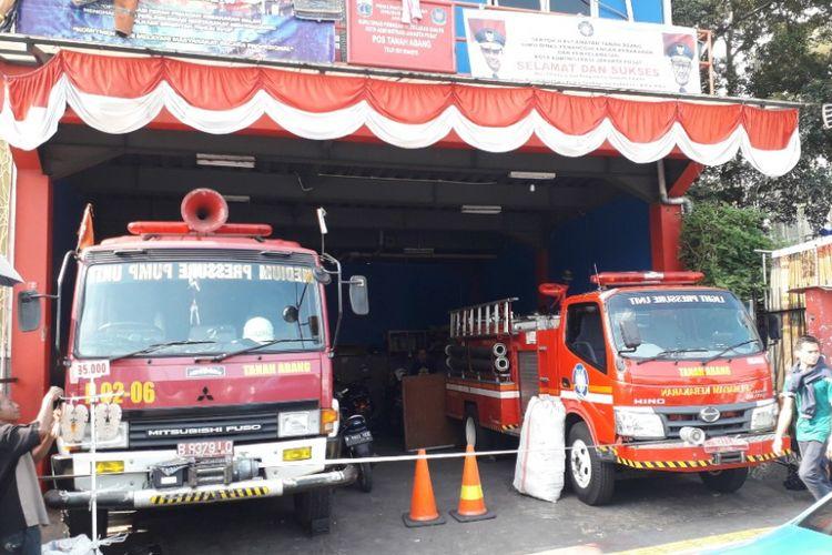 Tampak depan Pos Pemadam Kebakaran Tanah Abang, Selasa (2/10/2018).