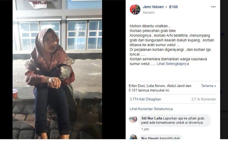 Postingan viral Facebook akun Jemi Ndoen yang mengatakan ada seorang wanita jadi korban pelecehan driver ojol di Surabaya.