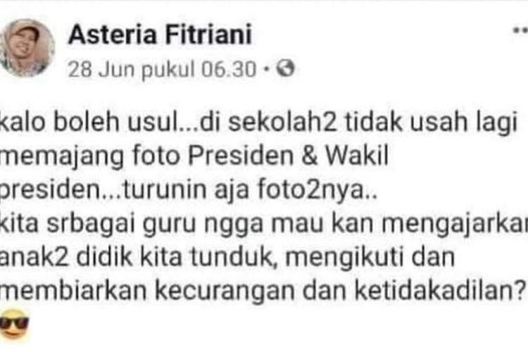 Postingan Yang Menyebutkan Tak Usah Pajang Foto Presiden dan Wakil Presiden di Sekolah(Dok. Istimewa)
