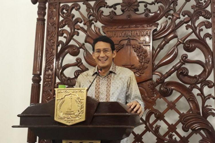 Wakil Gubernur DKI Jakarta Sandiaga Uno di Balai Kota DKI Jakarta, Jalan Medan Merdeka Selatan, Rabu (17/1/2018).