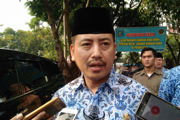 Kepala Satpol PP DKI Jakarta Yani Wahyu di Lapangan IRTI, Kawasan Monas, Jakarta Pusat, Selasa (19/9/2017).