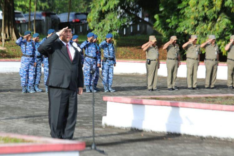Wakil Gubernur Sulawesi Utara, Steven O.E. Kandouw, menjadi inspektur upacara peringatan Hari Kebangkitan Nasional (Harkitnas) ke-110 di halaman kantor Gubernur Sulawesi Utara, Senin (21/5/2018) pagi