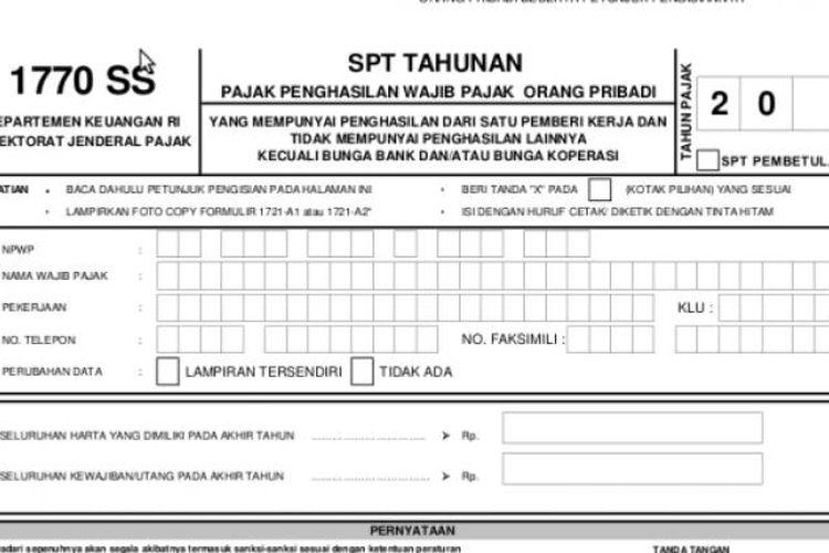 Ilustrasi formulir SPT