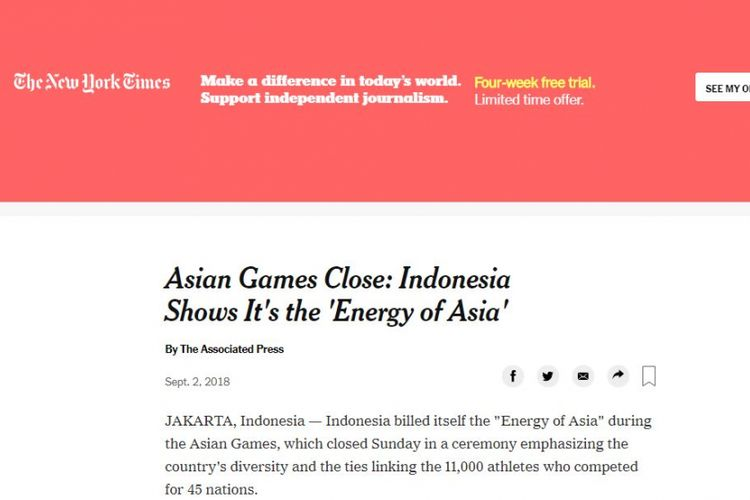 The New York Time Puji Asian Games di Indonesia melalui berita tanggal 2 September 2018.