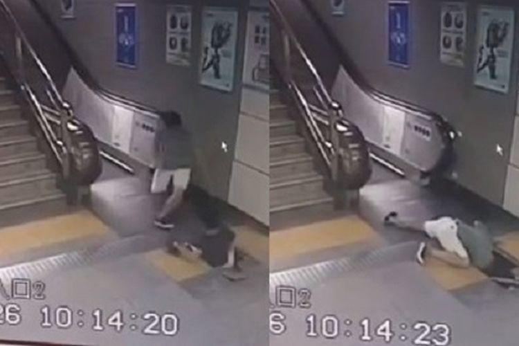Repro bidik layar yang memperlihatkan momen-momen wanita malang itu ditelan lantai yang kolaps di stasiun MRT di Shenzhen, China