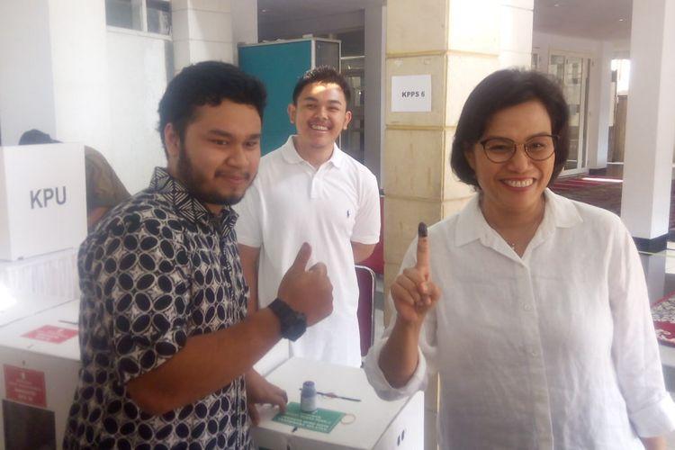 Menteri Keuangan (Menkeu) Sri Mulyani Indrawati seusai mencoblos di Bintaro, Tangerang, Rabu (17/4/2019).