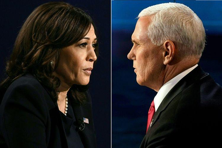 Foto kombinasi menunjukkan Wakil Presiden Amerika Serikat Mike Pence (kanan) dan penantangnya, kandidat dari Partai Demokrat Kamala Harris, saat melakikan debat di Kingsburry Hall, Universitas Salt Lake City, Utah, pada 7 Oktober 2020.