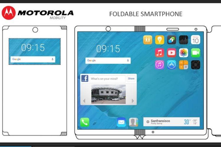 Motorola mematenkan desain smartphone layar lipat yang bisa menjadi sebuah tablet.
