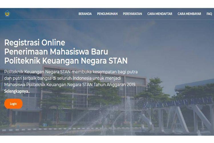 Halaman utama situs SPMB PKN STAN