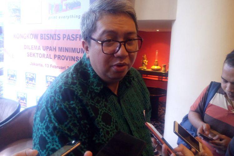 Ketua Umum Asosiasi Pengusaha Ritel Indonesia (Aprindo), Roy Mandey menjadi narasumber sebuah acara di Jakarta Pusat, Rabu (13/2/2019).