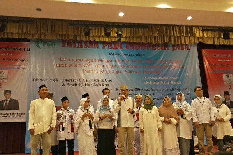 Calon Wakil presiden nomor 02, Sandiaga Uno di Taman Wiladatika, Harjamukti, Cimanggis, Depok, Jumat (10/5/2019).