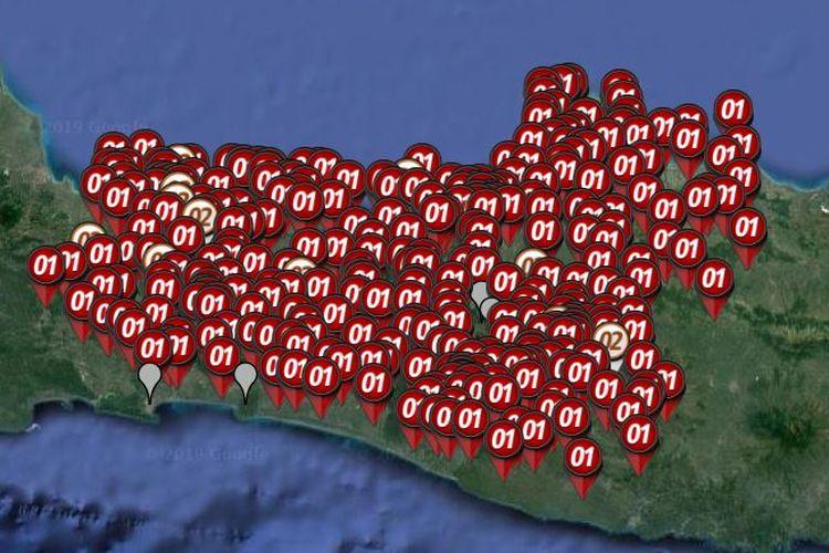 Peta sebaran hitung cepat atau quick count Pilpres 2019 yang dirilis oleh Litbang Kompas pada Rabu (17/4/2019) hingga pukul 21.00 WIB di di Jawa Tengah dan DI Yogyakarta.