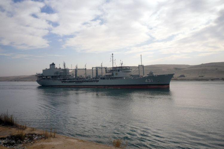 Kapal pengangkut bahan bakar milik Angkatan Laut Iran bernama Kharq, salah satu yang disiapkan untuk misi di Samudra Atlantik.