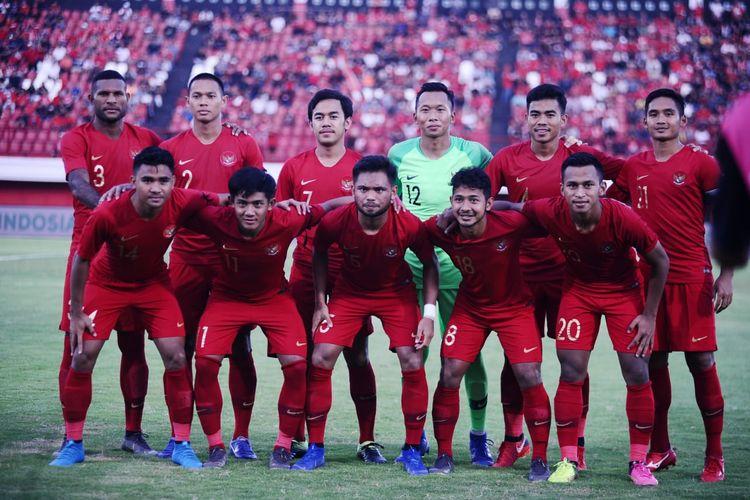 Skuad timnas U-23 Indonesia saat beruji coba melawan Bali United di Stadion Kapten I Wayan Dipta, Gianyar, Sabtu (18/3/2019).