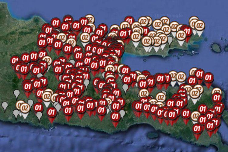 Peta sebaran hitung cepat atau quick count Pilpres 2019 yang dirilis oleh Litbang Kompas pada Rabu (17/4/2019) hingga pukul 21.00 WIB di di Jawa Timur.