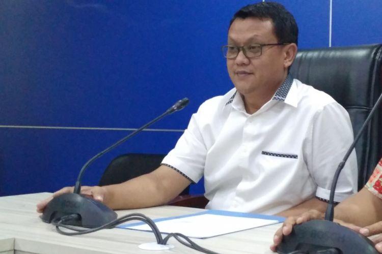 Direktur Tindak Pidana Ekonomi Khusus Bareskrim Polri Brigjen Pol Rudy Heriyanto dalam konferensi di Bareskrim Polri, Jakarta, Selasa (17/4/2018) malam.